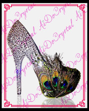 Aidocrystal latest party shoes for women the Queen of crystal feather dress shoes sexy high heel shoes