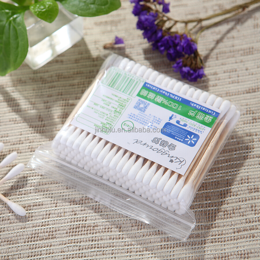 100 pcs in PP bag make up tool wooden cotton buds pure cotton ear cleaning stick sterile cotton buds