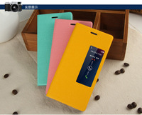 Stylish Window stand leather flip cover case for huawei ascend p7