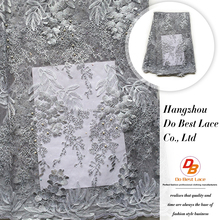 Cheap wholesale elegant chemical silver gray embroider beaded net lace fabric for lady dress