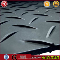 plastic sheet skid resistance HDPE temporary road mat, 15mm thickness textured grass protectin mat