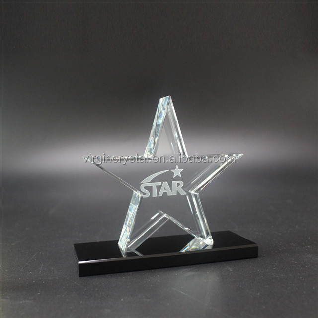 Laser Etched Crystal Glass Shooting Star Plaque Awards for Corporate Gift