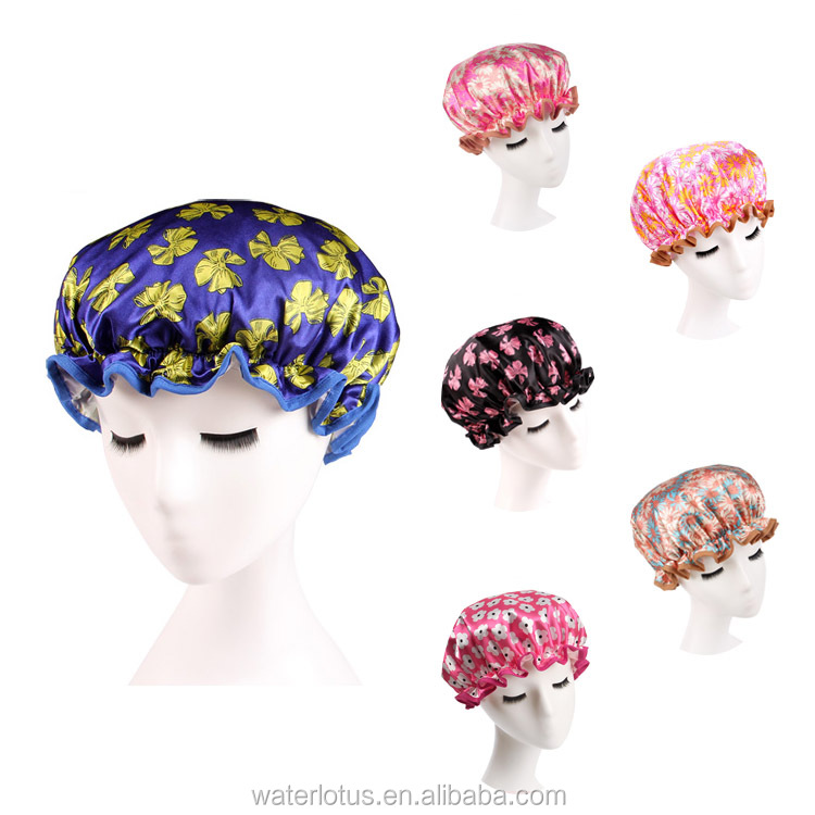 customized fabric novelty shower cap double layer bath cap
