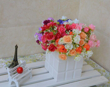 2014 mini rose stye flower, artificial silk flower bouquet