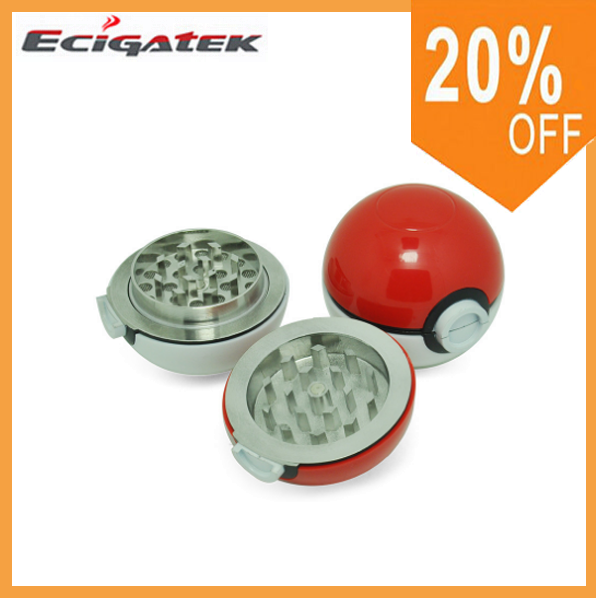 2016Attractive Cute 52MM*3Parts Pokeball Herb Grinder Wholesale Poke Ball Herb Grinder Pokemon Go