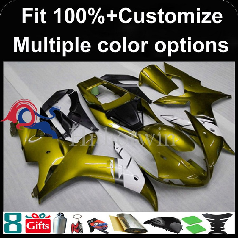 Injection mold gold motorcycle cowl for Yamaha YZF-<strong>R1</strong> 2002-2003 <strong>02</strong> <strong>03</strong> YZFR1 2002 2003 <strong>02</strong>-<strong>03</strong> ABS Plastic Fairing