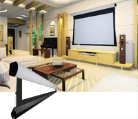Home theater 3D silver motorized tab tensioned projector screen