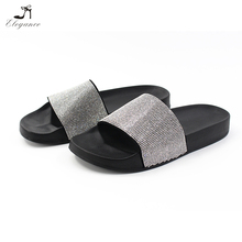 Women Hot Sale Trendy Elegant Sparkle Rhinestone Soft Suede PU Sole Ladies Dress Party Flats Slipper
