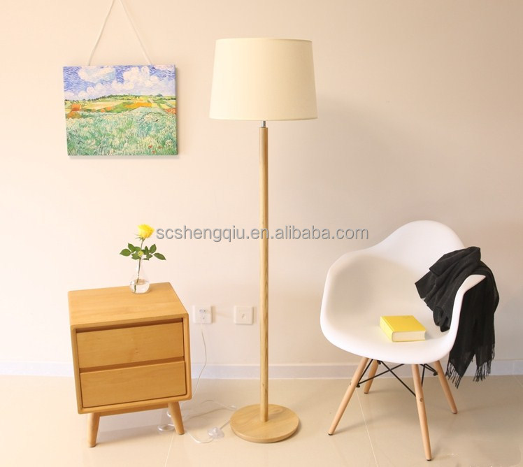 European ikea bedroom living room real wood remote LED can adjust the wood floor lamp