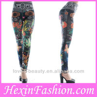 Sexy Seamless Elastic Pantyhose Denim Leggings Flower