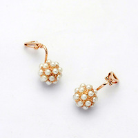 Unique design hot sell ball with pearl jewelry clip earrig for little girls with no ear hole jewelry