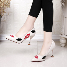 Fashion red lips women sexy high heel wedding party dress ladies shoes 2018 hot sale
