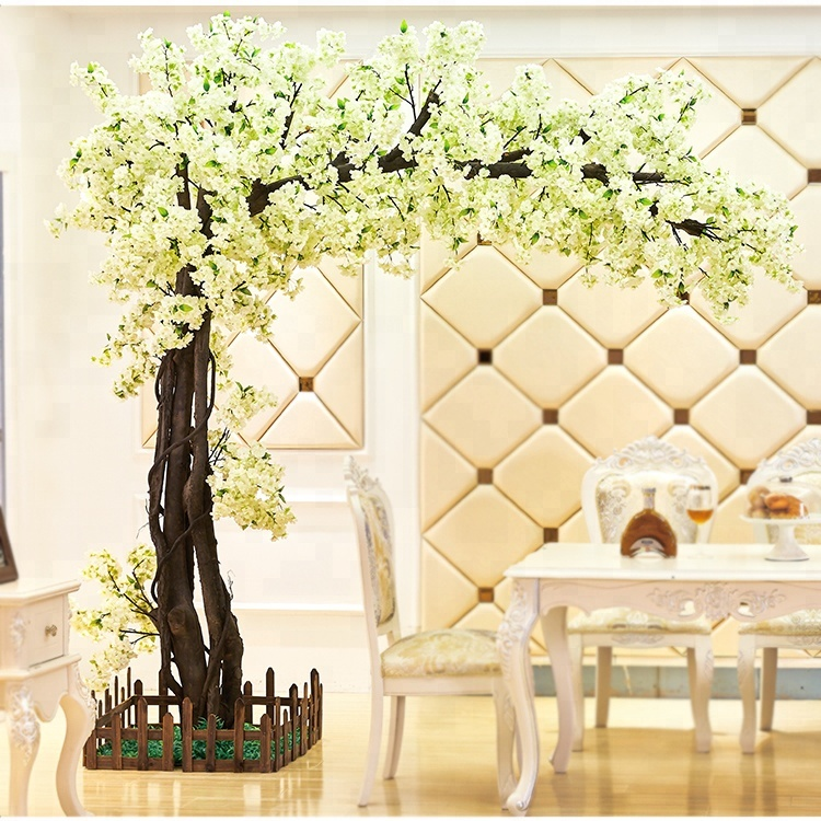 Japanese indoor plastic cherry blossom tree artificial with silk cloth trees for decoration