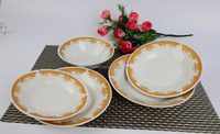 porcelain soup plate and salad bowl with 6235 decalceramic dinner set with golden decal sold well in maylisa