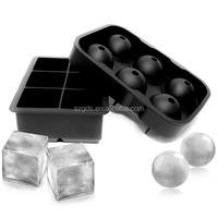 2017 Amazon new hot sell Ice Cube Trays,Silicone Sphere & Large Square Ice Ball Maker Hold Reusable&Durable mold BPA Free(Set of