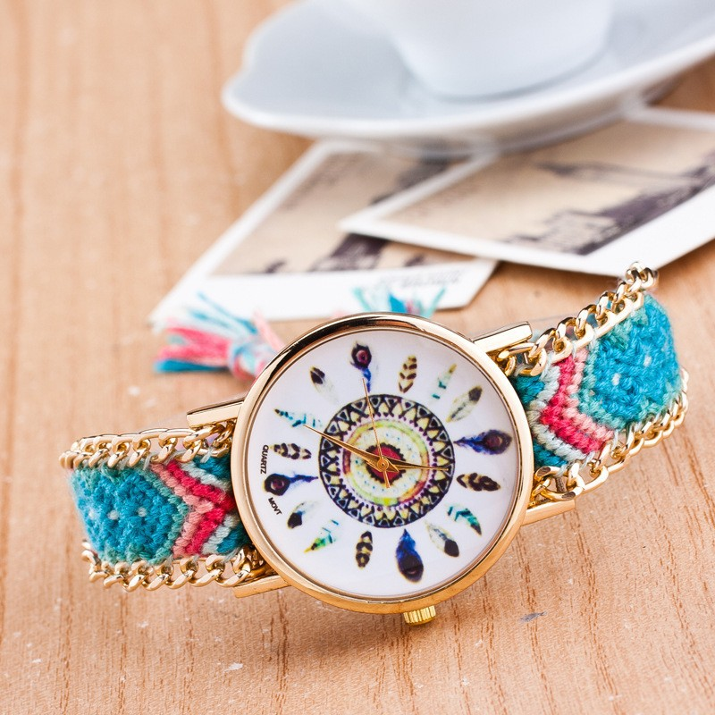 2015 Stylish Friendship Braided Rope Bracelet Geneva Women Watch for women
