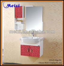 Red color pvc thin bathroom vanity