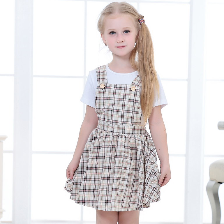 Fashion kids clothes sleeveless casual frock design dress girls strap checked cotton dresses
