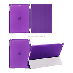 Magnetic leather slim smart cover for apple ipad 4 3 2 for iPad air 2 +crystal transparent hard back protect skin shell case
