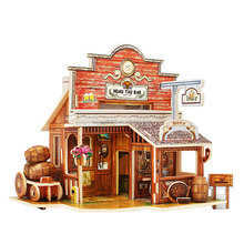 European style Wooden simulation model fine House Jigsaw Puzzle Toys