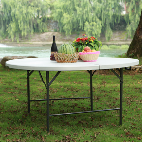 Outdoor portable white round folding dining table plastic round folding table