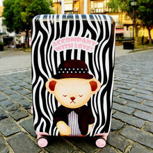 Korea Style Cute Bear Printing Luggage trolley case abs suitcase bag