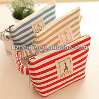 2016 recycled Waterproof pvc lining Jute cosmetic bag Made in China