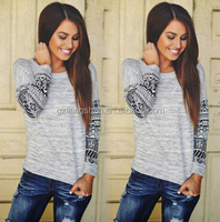 OEM Wholesale New Women's Long Sleeve Casual Lace Blouse Loose Cotton Tops Lady T Shirt