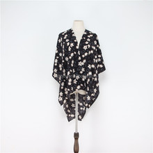 New fashion Chiffon Floral printed custom-made shawls cardigan kimono beach shawl