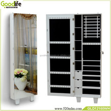 wall hanging jewelry armoire with mirror in white safety lock storage drawers