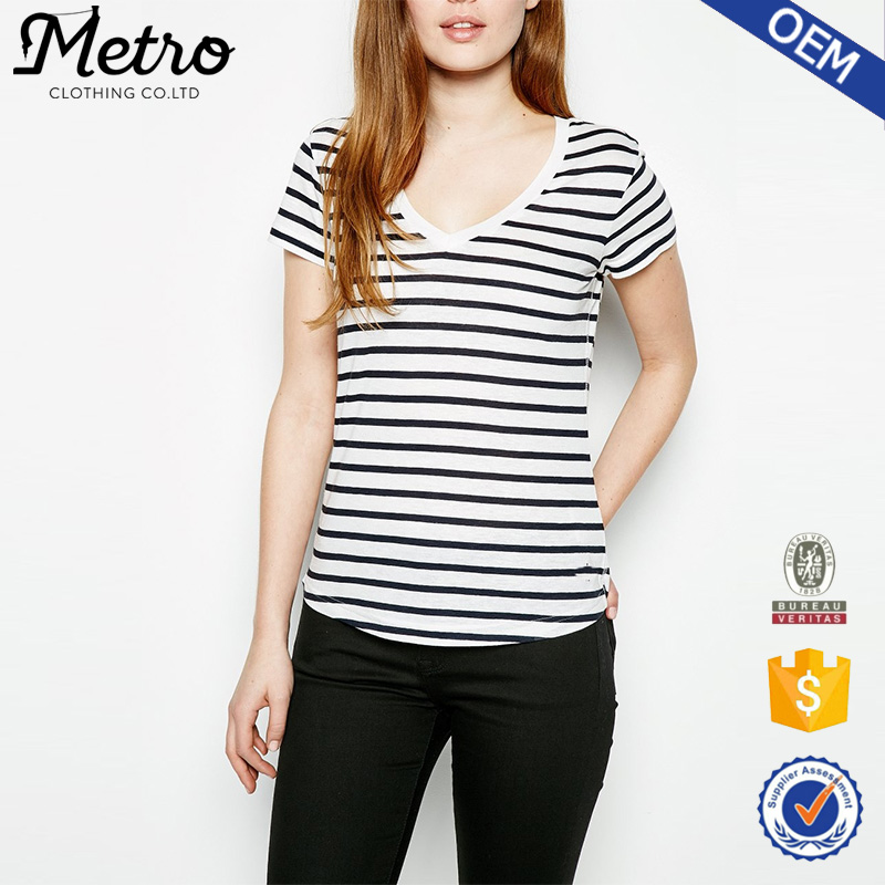 Wholesale bulk women classic black and white v neck for Where can i buy t shirts in bulk for cheap