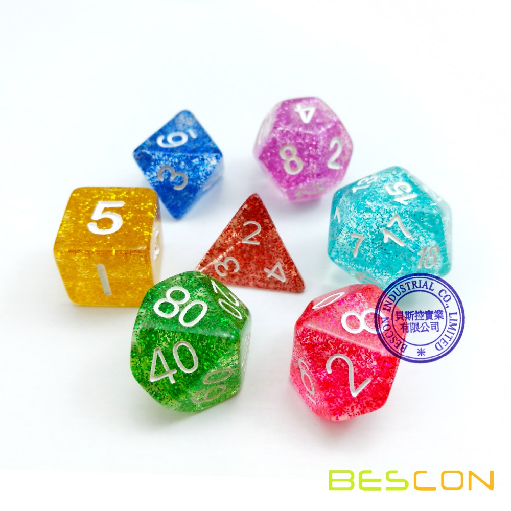 Assorted Colored Colorful Glitter Polyhedral Dice 7pcs Set, Glitter RPG Dice Set d4 d6 d8 <strong>d10</strong> d12 d20 d%, Clear Tube Packaging