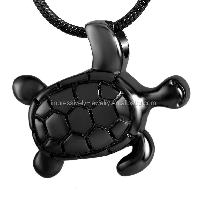 LOW MOQ new design high quality 316l Stainless Steel Tortoise Pendant Pet Cremation Urn Pendant Keepsake Jewelry