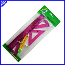 New designer 5pcs clear pvc soft drawing geometry math set
