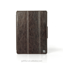 Genuine leather stand case for iPad air 2 with foldable cover Brown