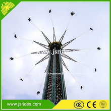 Sky flying ! Amusement park thrilling flying tower ride
