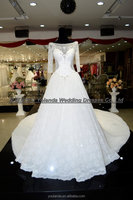 TFY01 Gorgeous Type High Quality Lace Long Sleeve Wedding Dresses With Cathedral Train 2016