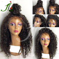 7A 8A Grade Natural Black Virgin Malaysian Human Hair Front Lace Wig Kinky Curly Full Lace Wig With Baby Hair For Black Women