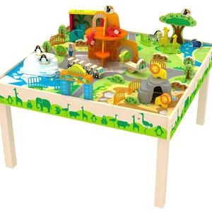 Deluxe Wooden Toy Zoo Table for kids play