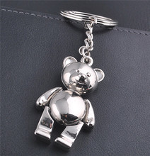 top hot selling Funny silver metal 3D teddy bear keychain with romoving arms and legs