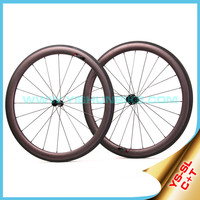 2015 YISHUNBIKE 700c carbon road bike wheel super light weight 50mm tubular bicycle wheelset carbon & titanium weave SL50T(C+T)