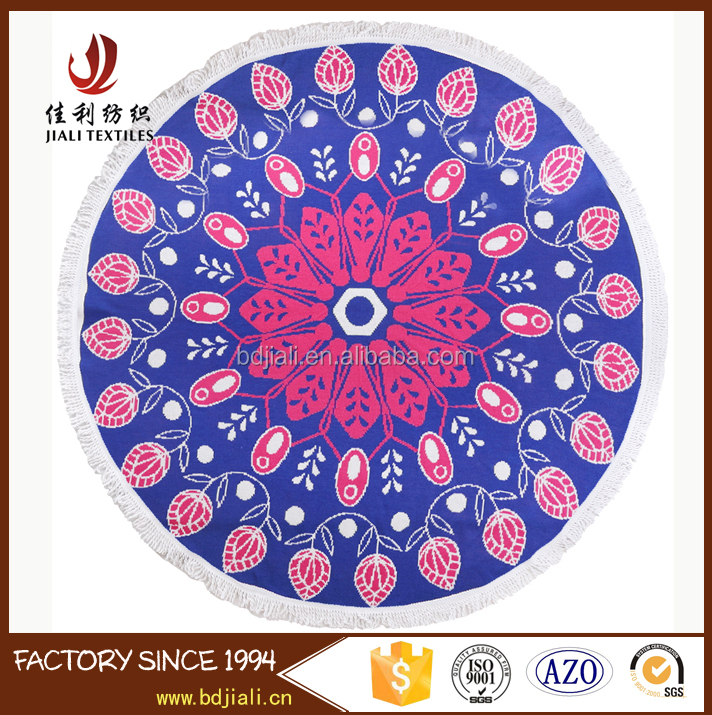 hot sale 100% Cotton Custom knitting circle large Round Beach Towel with tassel