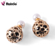 Two Gold Plated Crystal Ball Hollowed Flower Studs Earrings Double Side Earrings