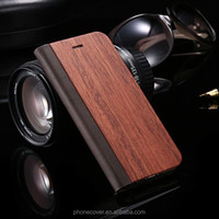 New Soft wood+PU leather flip phone case for iphone 5 for Iphone 6 for Iphone 6S accessory