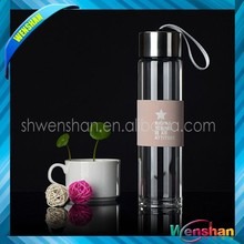 wholesale BPA Free reusable glass drink tea water bottles with tea infuser