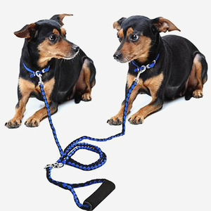 140CM Dual Dog Leash Coupler Training Two Dogs No Tangle Soft Grip Handle 2 In 1 Double Headed Traction Rope Doggie Pet Leashes