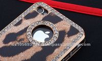 Leopard print leather with rhinestone mobile phone cover for iphone4g/4s