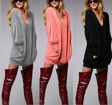 B21440A Europe and the United States long sleeved V collar loose solid color blouse