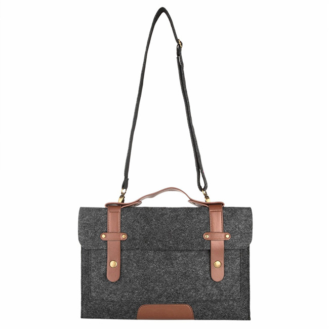 Alibaba new design hot sale felt shoulder bag briefcase for 15-15.6 inch laptop