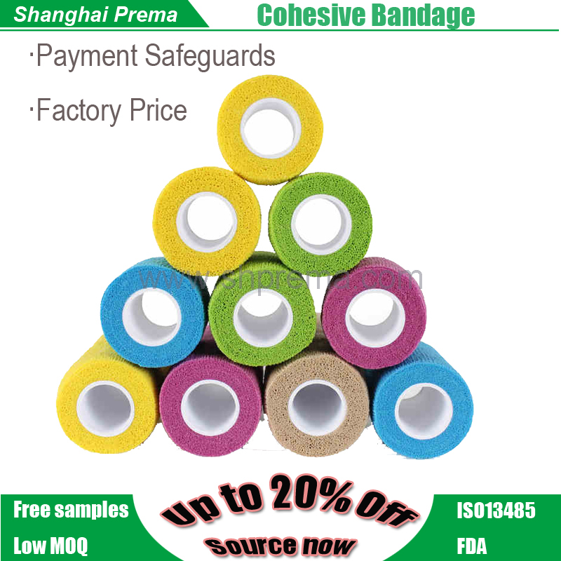 Own Factory Direct Supply Non-woven Elastic Cohesive Bandage cheap first aid power rip cohesive bandage .